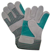 Leather hand gloves, double palm, heavy duty