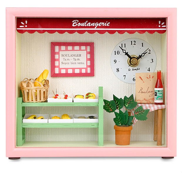 Dollhouse Boulangerie Table & Wall Clock