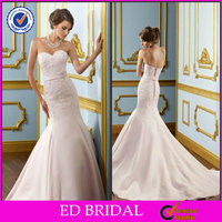 New Fashion Mermaid Strapless Sweetheart Lace Appliqued Bridal Pakistani Dress