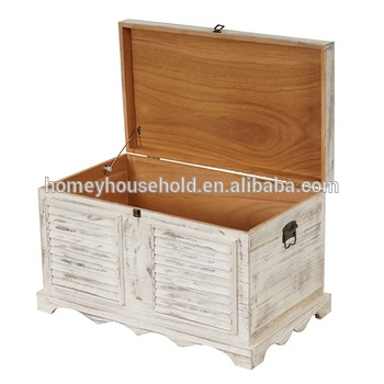 wooden chest box storage trunk with cushioned seat
