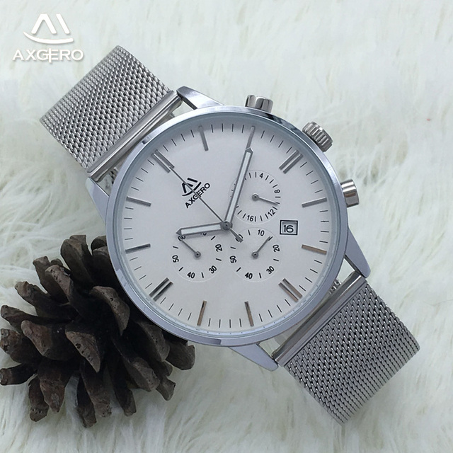 2018 fashion business mens quartz stainless steel mesh chronograph chain wrist watch
