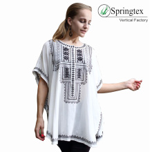 fashion patch white embroidery tunic rayon blouse
