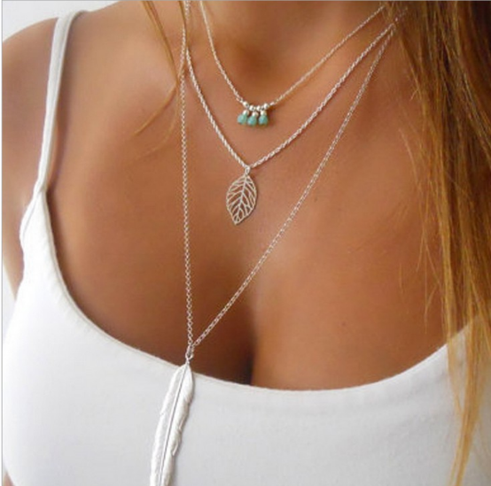 Fashion Simple Necklaces Leaf Long 3 Layer Chain multilayer Pendant Necklaces