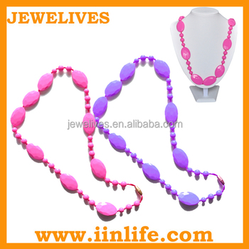 Colorful large elegant silicone chew beads necklace