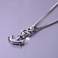 Men Boat Anchor Pendant Necklace Silver