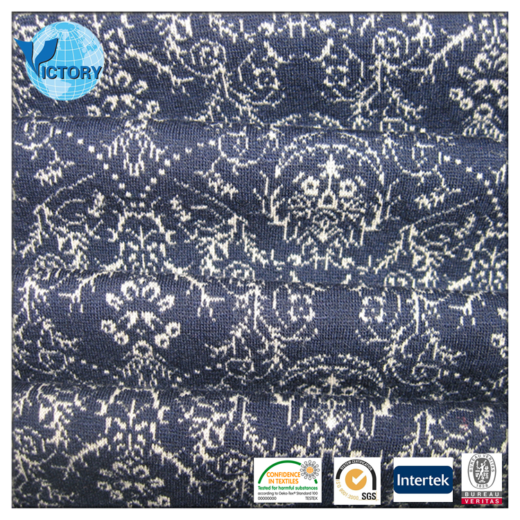Wolesale Jacquard Double Side Interlock Knit Fabric Wool Fabric