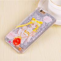 Best Gifts Cartoon Sailor Moon Transparent Clear Phone Case Glitter Stars Dynamic Liquid Quicksand Hard Case For iPhone
