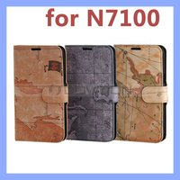 Map Style PU Flip Leather Case Wallet Cover with Card Holder For Samsung Galaxy Note II 2 N7100