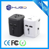 Universal international electric 2500mA output travel adapter with dual USB