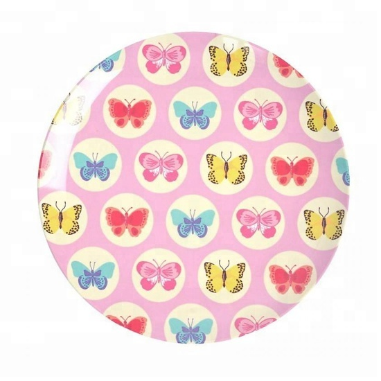"14"" inch pink butterfly melamine plate/melamine salad plate"