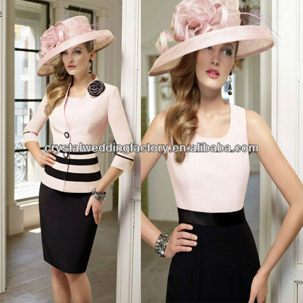 2014 cheap ruched floor length customize pink black 3/4 sleeve mother of the bride dresses CWFam5797