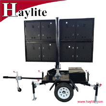 LED display sign trailer for traffic use with solar panel