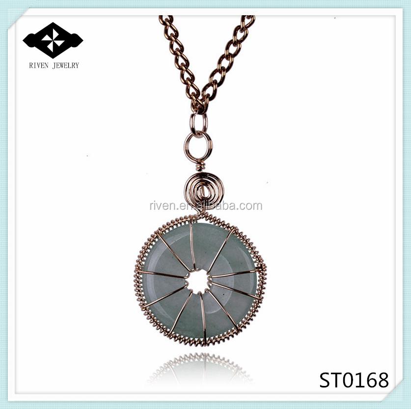 ST0168 Natural jade handmade circular pendant necklace fine gold trim Chain Necklace.jpg