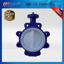 High quality ductile iron Lug Type Full PTFE Lined Butterfly Valve