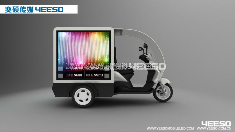 Cheap Price Customized Outdoor Motorcycle/Tricycle with LED Light box/ LED Display Screen for Advertising and Food Delivery