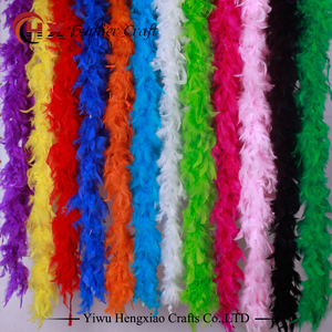wholesale party supplies dyed Colourful fluffy chandelle turkey feather boa for decoration Feather