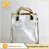 fashionable clear cosmetic transparent promotional shopping bag with logo