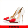 Popular pointed toe high heel ladies pump shoes with heart-shaped decoration