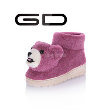 GD cute animal dog pattern on upper snow ankle boots for adults