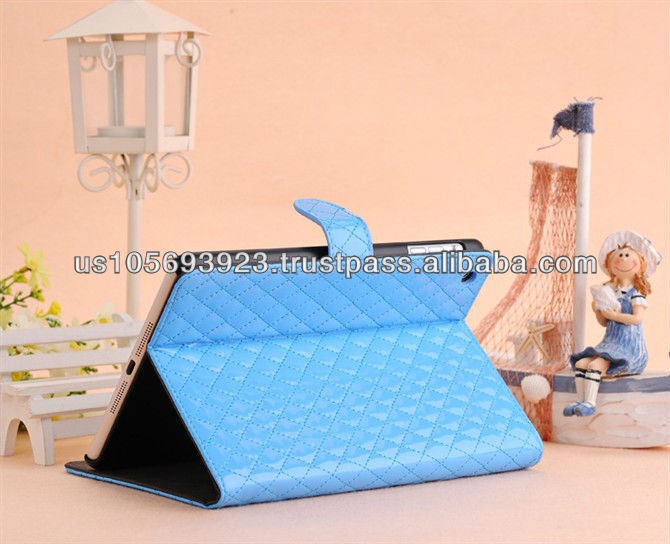 Newest Grid PU leather smart cover case for Mini Ipad