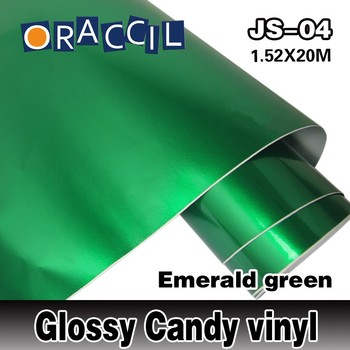 Wholesale ROHS Certificate Oraccil Brand Green 1.52*20m air free bubbles Glossy candy film car wrap Vinyl