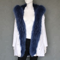 High quality fur parka fox fur lined raccoon fur collar winter jackets