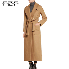 Ladies Women Oversized Winter Wool Formal Khaki Long Coat Design