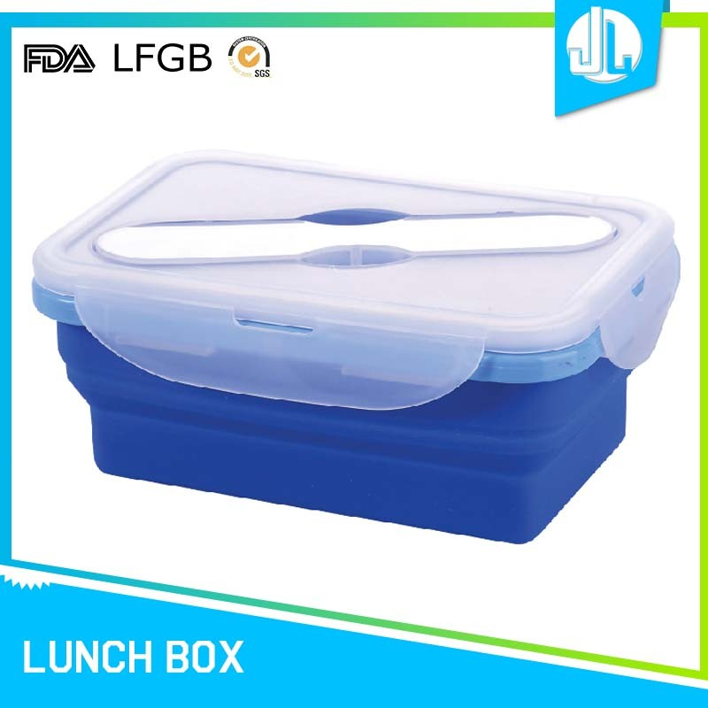 Professional 1000ML rectangle collapsible silicon material folding lunch box men