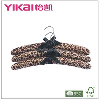 Set of 3pcs soft fuzz fabric padded clothes hanger in zebra painting