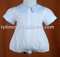 100% soft cotton Hemstitch & hand embroidery baby romper