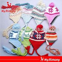 Custom girls ear flap winter knitted beanie hats