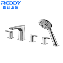 High quality brass luxury rainfall bathroom bath and shower faucets, exposed rain shower set without slide bar