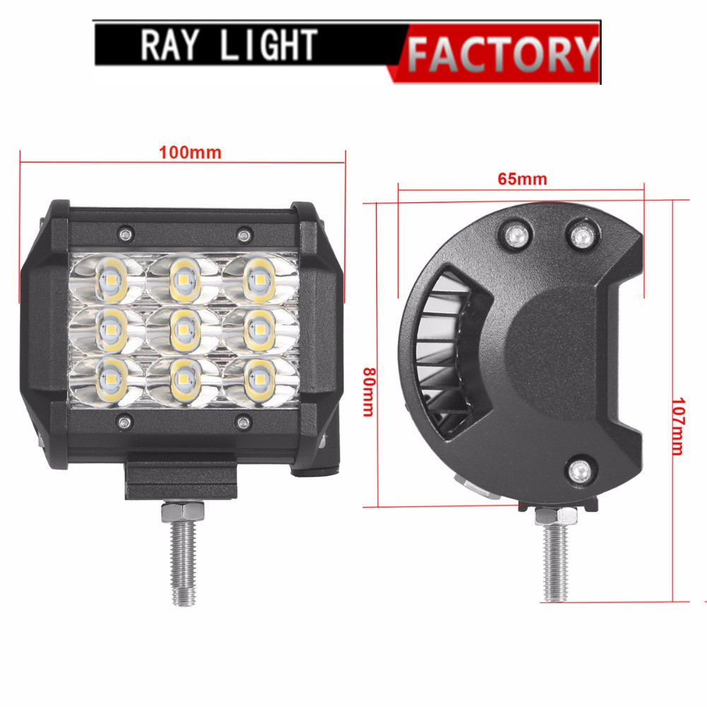 27W Offroad LED Work Light Bar 4 6.5 Inch Headlight 12V 24V Car Motorcycle Truck Trailer Pickup 4X4 4WD Headlight FOG LAMP
