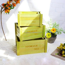 vintage storage printed wooden boxes / wooden crate