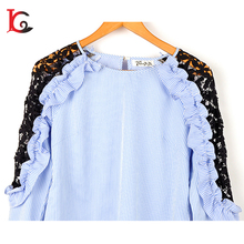 2017 latest design 100%polyester women long sleeve blouse design lady blouse & top with lace