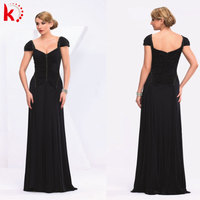 Cap sleeve ruffle design evening dress formal mother of bride back corset style dress
