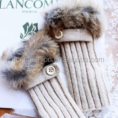 Long Fingerless Knitted Wool Gloves with Real Rabbit Fur Gloves for Fashion Girls