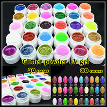 Precio al por mayor hot new 30 mezcla de colores brillo de pintura en polvo de uñas de arte Sólido esmaltes en gel uv uñas gel cream set kit 5g s30