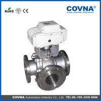 Electric sanitary stainless steel 3-way flange ball valve with handle(304/316L)