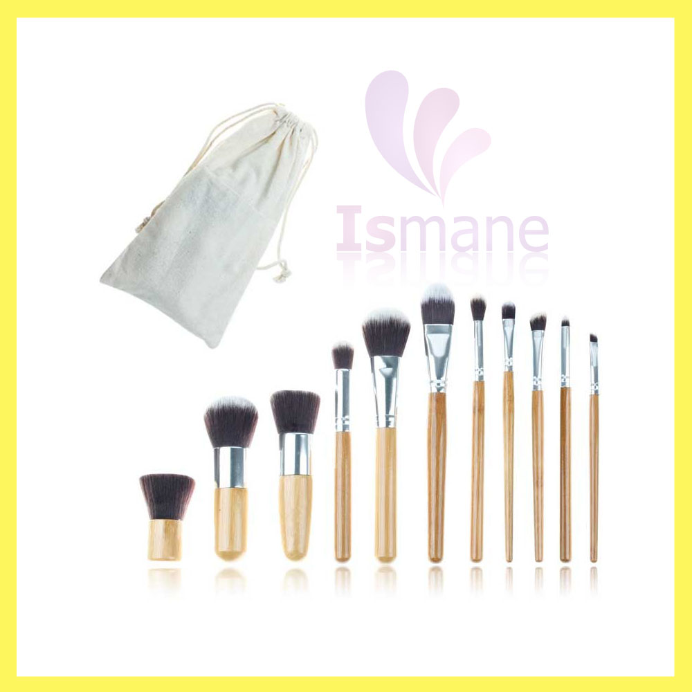 High quality ecofriendly nylon hair bamboo handle 11 pieces cosmetic brush set