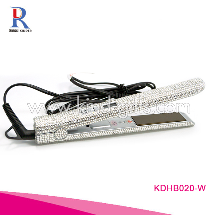 Hot Silver Rhinestone Bling Crystal Rolling Cheap Name Brand Flat Iron Hair Straightener Wholesale