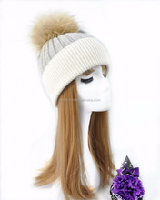 Custom fashion real raccoon fur pom pom beanie cap fur winter hat for women and young girls