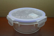 round shape pyrex glass freshness preservation food container with lid 620ml