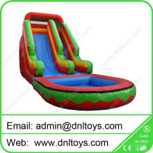 PVC Inflatable slide,commerical giant inflatable water slide with pool at low price
