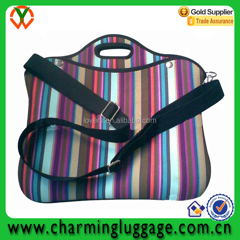 Waterproof colorful neoprene laptop sleeve Case with shoulder strap