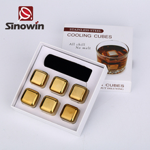 2017 Gold Stainless steel whisky stones/ whiskey ice cubes/ whisky ice rocks