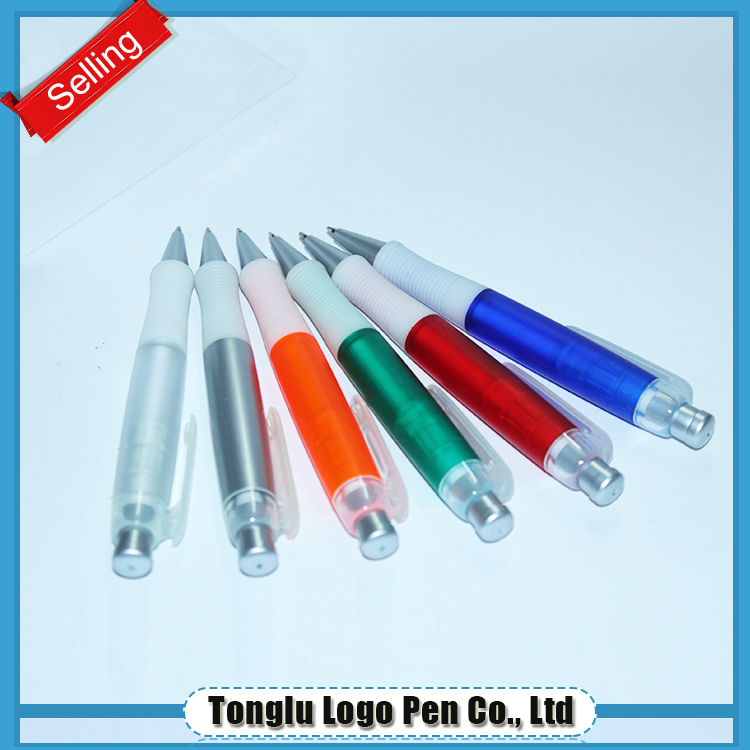 Promotinal soft rubber grip plastic material stationery ball pen slim