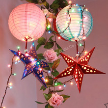Christmas paper star decoration, Led light paper lantern decoration, minin paper string lantern for decorations