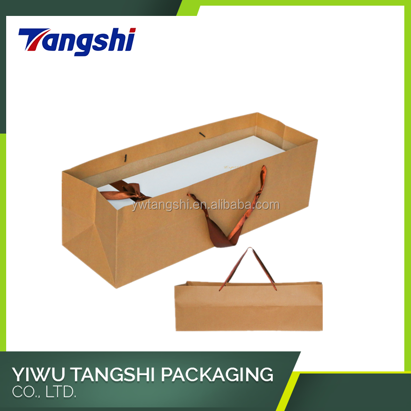 Flower packaging paper bag with satin ribbon handles