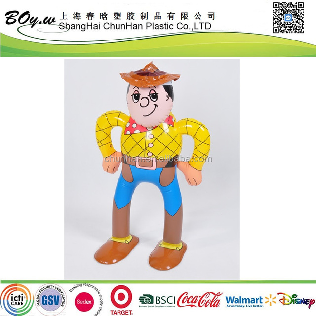 EN71 testing factory children display character play pvc kids toy story cowboy sheriff standing inflatable doll